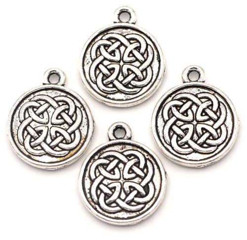 4pc 18x15mm Celtic Knot Flat Round Charms, Antique Silver