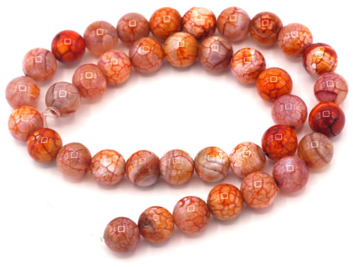 """Approx. 14"""" Strand 10mm Crackle Agate Round Beads, Rust Orange"""