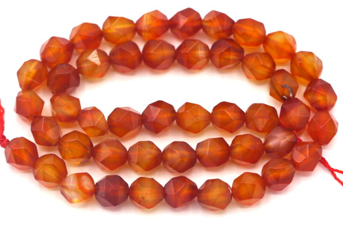 """Approx. 15"""" Strand 8mm English Cut Faceted Carnelian Round Beads"""