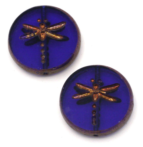 2pc 17mm Czech Table-Cut Glass Dragonfly Coin Beads, Sapphire/Copper Wash