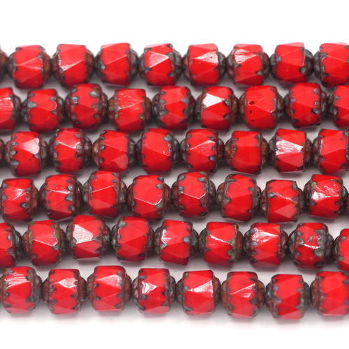 Approx. 20pc Strand 6mm Czech Fire-Polished Cathedral Beads, Opaque Red/Vintage Luster