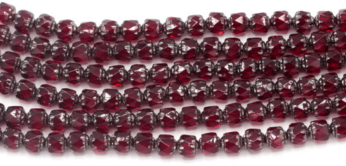Approx. 19pc Strand 6mm Czech Fire-Polished Cathedral Beads, Garnet Red/Silver Luster