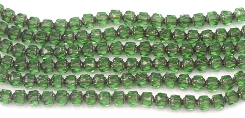 Approx. 20pc Strand 6mm Czech Fire-Polished Cathedral Beads, Peridot/Silver Luster
