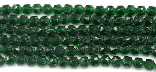 Approx. 19pc Strand 6mm Czech Fire-Polished Cathedral Beads, Emerald/Vintage Luster