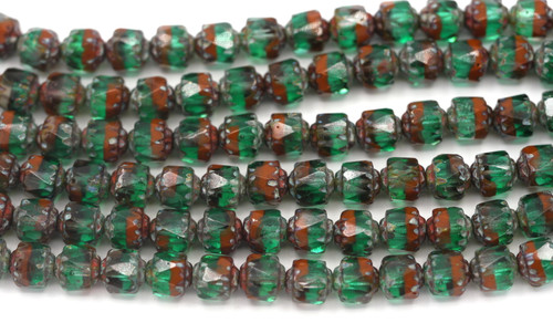 Approx. 19pc Strand 6mm Czech Fire-Polished Cathedral Beads, Teal/Sienna/Vintage Luster