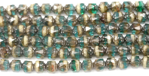 19pc Strand 6mm Fire-Polished Cathedral Barrel Beads, Teal/Gray/Ivory/Silver Luster
