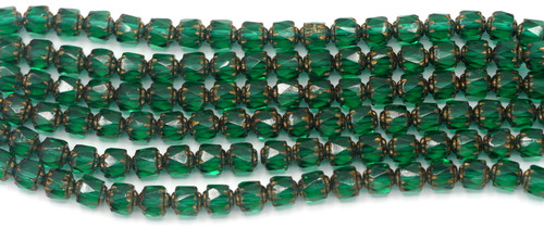 19pc Strand 6mm Fire-Polished Cathedral Barrel Beads, Teal/Metallic Gold