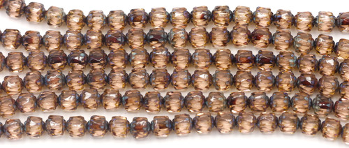 18pc Strand 6mm Fire-Polished Cathedral Barrel Beads, Vintage Pink/Picasso/Vintage Luster