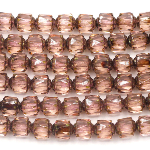 19pc Strand 6mm Fire-Polished Cathedral Barrel Beads, Pink/Light Picasso Luster
