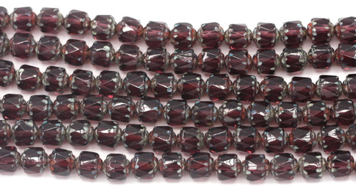 18pc Strand 6mm Fire-Polished Cathedral Barrel Beads, Pink/Light Picasso Luster