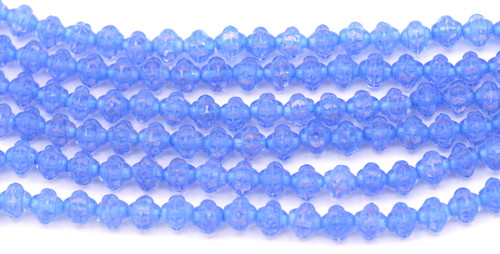 20pc Strand 6mm Czech Pressed Glass Fizgig Bumpy Spacer Bead, Crystal/Color-Lined Medium Blue/Blue Wash