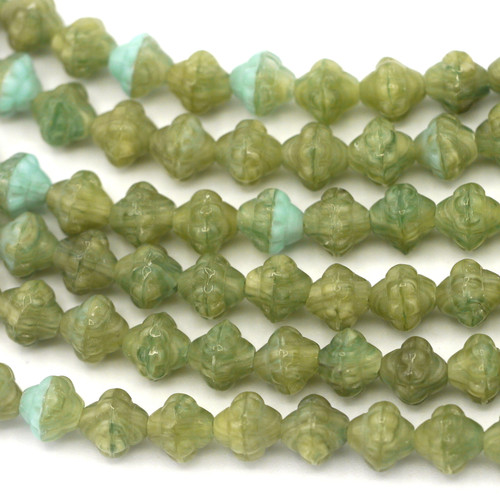 20pc Strand 6mm Czech Pressed Glass Fizgig Bumpy Spacer Bead, Olive/White/Sky Blue Mix