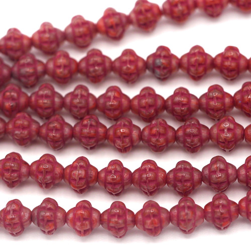 20pc Strand 6mm Czech Pressed Glass Fizgig Bumpy Spacer Bead, Pink/Greige/Dark Coral Wash