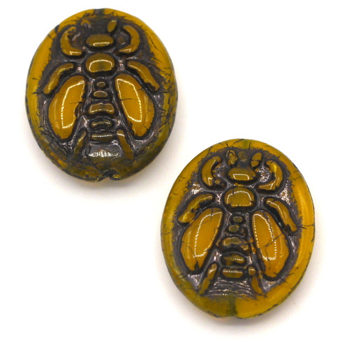 2pc 22x18mm Czech Pressed Glass Bee Beads, Yellow Opal/Black