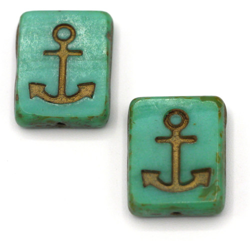 2pc 15x12mm Czech Table-Cut Glass Anchor Rectangle Beads, Turquoise/Picasso/Bronze