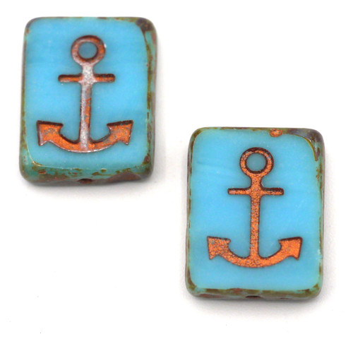 2pc 15x12mm Czech Table-Cut Glass Anchor Rectangle Beads, Sky Blue/Picasso/Copper Wash