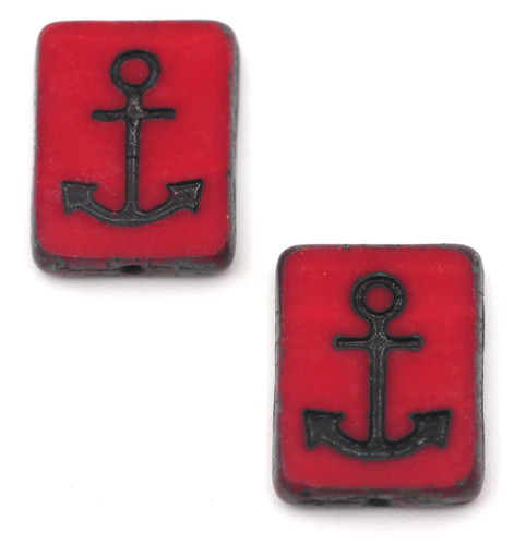 2pc 15x12mm Czech Table-Cut Glass Anchor Rectangle Beads, Opaque Red/Jet Wash/Vintage Luster