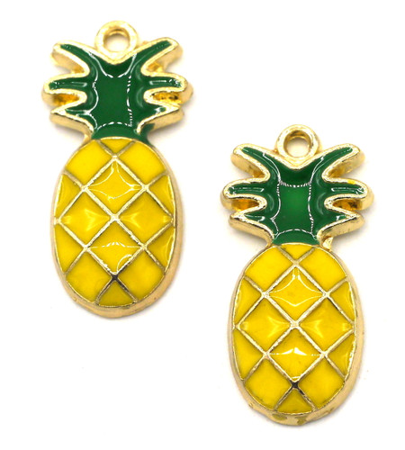 2pc 23.5x11.5mm Enameled Pineapple Charms, Gold