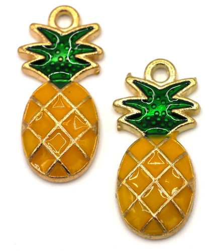 2pc 23.5x11.5mm Enameled Pineapple Charms, Rose Gold