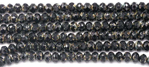 24pc Strand 7x5mm Czech Fire-Polished Glass Faceted Donut Bead, Jet Black/Travertine