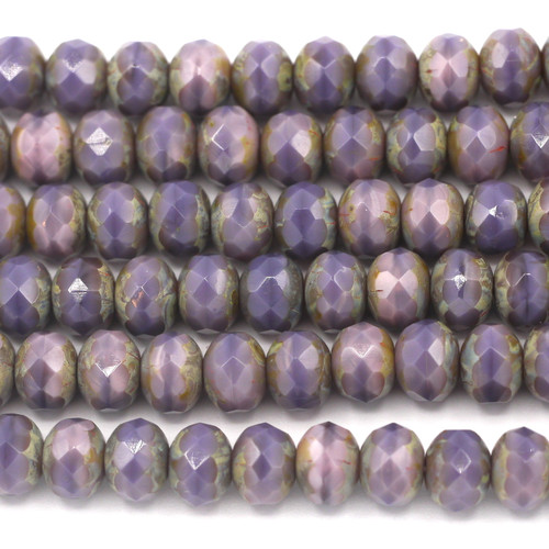 24pc Strand 7x5mm Czech Fire-Polished Glass Faceted Donut Bead, Mixed Purple/Travertine