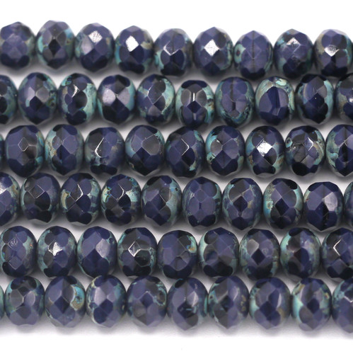24pc Strand 7x5mm Czech Fire-Polished Glass Faceted Donut Bead, Indigo/Vintage Luster