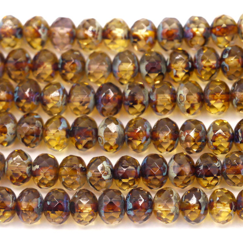 24pc Strand 7x5mm Czech Fire-Polished Glass Faceted Donut Bead, Crystal/Picasso/Vintage Luster