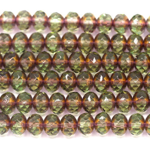 24pc Strand 7x5mm Czech Fire-Polished Glass Faceted Donut Bead, Light Olive/Rosy Bronze