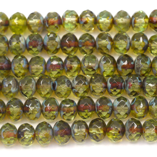 24pc Strand 7x5mm Czech Fire-Polished Glass Faceted Donut Bead, Light Olive/Picasso Mix w/Travertine