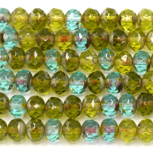 24pc Strand 7x5mm Czech Fire-Polished Glass Faceted Donut Bead, Aqua/Olive Mix w/Travertine/Picasso