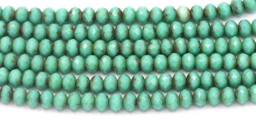 23pc Strand 7x5mm Czech Fire-Polished Glass Faceted Donut Bead, Turquoise Green/Dark Travertine