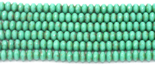 27pc Strand 7x4mm Czech Fire-Polished Glass Faceted Donut Bead, Turquoise Green/Picasso