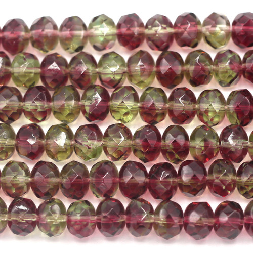 20pc Strand 9x6mm Czech Fire-polished Glass Faceted Rondelle Beads, Smoked Topaz/Amethyst