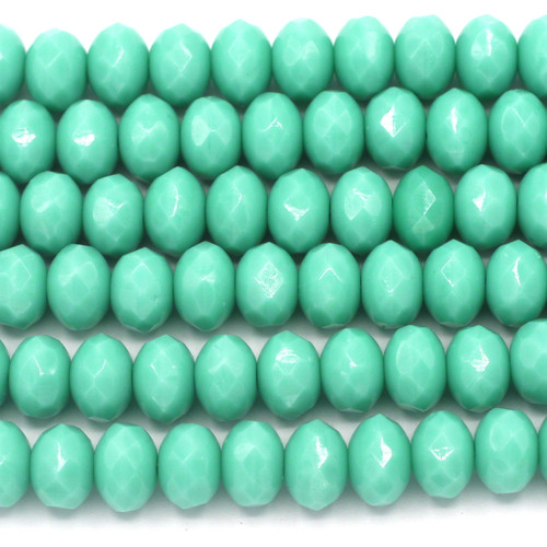 20pc Strand 9x6mm Czech Fire-polished Glass Faceted Rondelle Beads, Turquoise Green