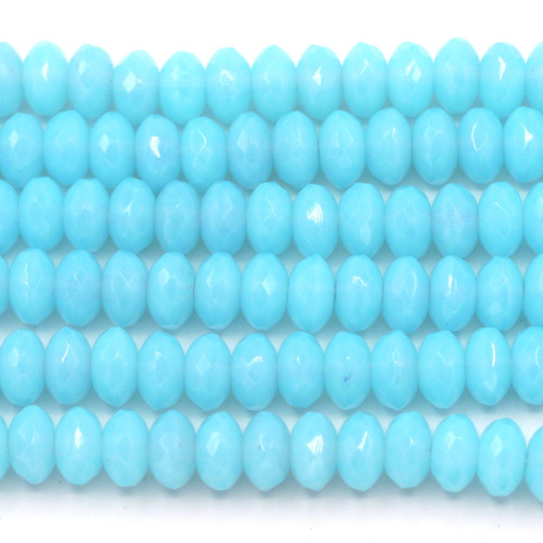 28pc Strand 7x4mm Czech Fire-Polished Glass Faceted Rondelle Beads, Aqua Blue Opal