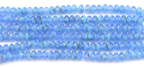 28pc Strand 7x4mm Czech Fire-Polished Glass Faceted Rondelle Beads, Light Sapphire/Sky Blue Mix