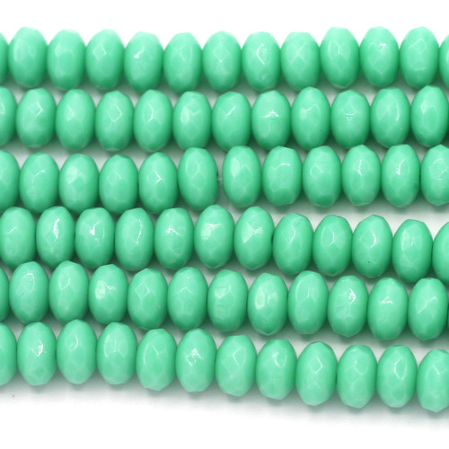 28pc Strand 7x4mm Czech Fire-Polished Glass Faceted Rondelle Beads, Turquoise Green