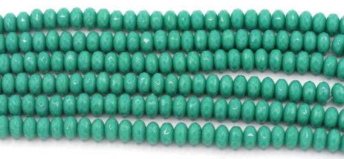 28pc Strand 7x4mm Czech Fire-Polished Glass Faceted Rondelle Beads, Dark Turquoise Green