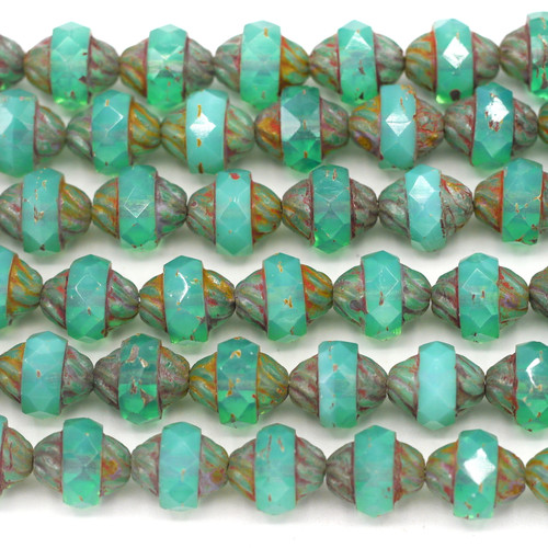 10pc Strand 10x11mm Czech Fire-Polished Glass Faceted Cathedral Turbine Beads, Aqua Opal/Travertine