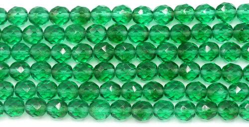 15pc Strand 8mm Czech Fire-Polished Glass Faceted Round Beads, Emerald