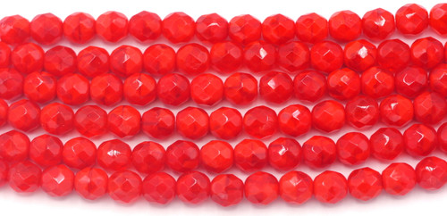 15pc Strand 8mm Czech Fire-Polished Glass Faceted Round Beads, Transparent/Opaque Red Swirl