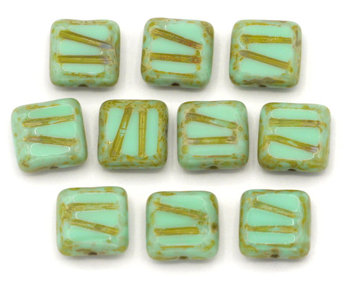 10pc 10mm Czech Table-Cut Glass Patterned Square Beads,  Mint Picasso