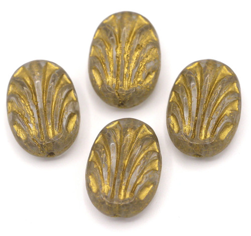 4pc 12x17mm Czech Pressed Glass Decorative Oval Bead, Crystal/Gold Wash