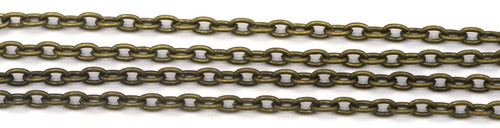 1 Meter 4x3mm Steel Oval Jewelry Chain, Antique Brass Finish