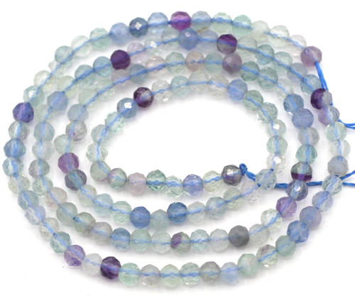 "14.5"" Strand 3mm Finely-Faceted Rainbow Fluorite Round Beads"