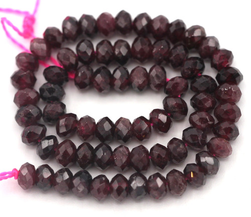 """Approx. 7"""" Strand 4x2-3mm Faceted Garnet Rondelle Beads"""