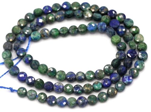 """Approx. 14.5"""" Strand 4mm """"China Chrysocolla"""" Lapis Lazuli Faceted Coin Beads"""