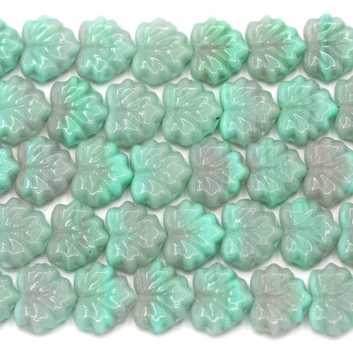 12pc Strand 11x13mm Czech Pressed Glass Maple Leaf Beads, Turquoise/Lavender-Gray