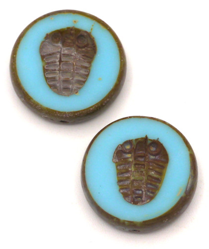 2pc 17mm Czech Table-Cut Glass Trilobite Coin Beads, Opaque Sky Blue/Picasso