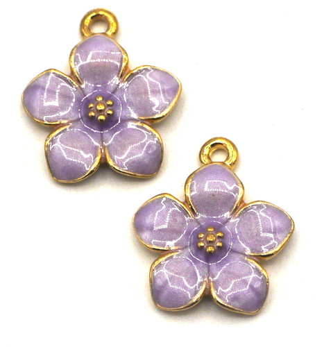 2pc 17x15mm Enameled Flower Charms, Lavender